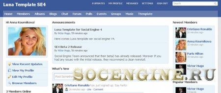 SocialEngine 4 Template Luna