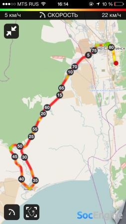 Runtastic Mountain Bike Pro отметки километров