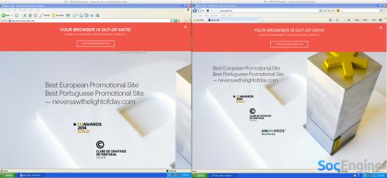 Вот как выглядит JS плагин Outdated Browser в работе
