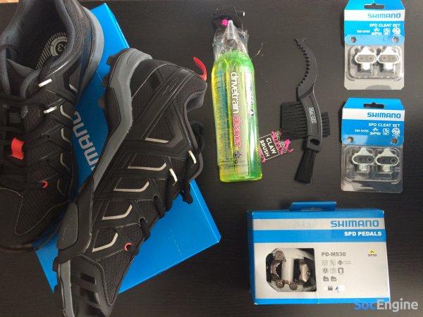 Велотуфли МТБ Shimano MT34 MTB SPD 2016 и Контактные Педали Shimano M520 SPD